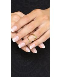 Bijules - Metallic Stack Phalange Ring - Gold/clear - Lyst