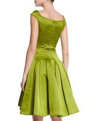 Zac Posen - Green Duchess Satin Cap-sleeve Cocktail Dress - Lyst