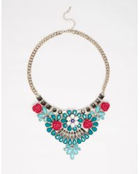 Oasis - Green Flower Stone Bib Necklace - Lyst
