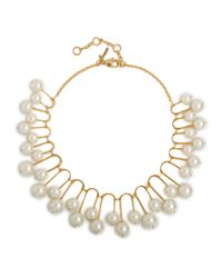 Lele Sadoughi - Metallic Pearly Beaded Fan Necklace - Lyst