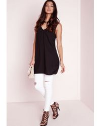 Missguided - Plunge Neck Tab Back Cami Top Black - Lyst