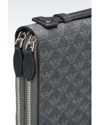 Emporio Armani - Gray Organizer In Logoed Saffiano Calfskin And Pvc for Men - Lyst