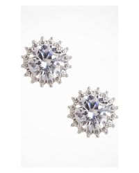 Express | Metallic Cubic Zirconia Starburst Stud Earrings | Lyst