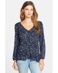Lucky Brand | Blue Handkerchief Cotton-Blend Top | Lyst