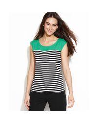 Calvin Klein | Green Capsleeve Striped Top | Lyst