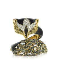 Roberto Cavalli - Metallic Fox Brass And Crystal Bracelet - Lyst