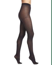 Wolford - Black Stripe-pattern Sheer Tights - Lyst