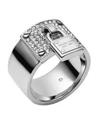 Michael Kors | Gray Silvertone Pave Padlock Ring | Lyst