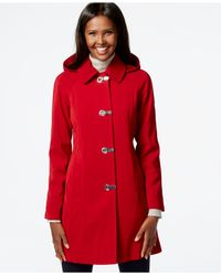 London Fog | Red Petite Hooded Clip-front Jacket | Lyst