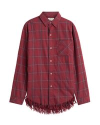 Current/Elliott - Red Plaid Shirt With Fringe - Multicolor - Lyst