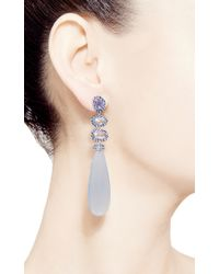Shawn Ames - Signature Long Pear Earrings with Blue Chalcedony Blue Sapphire Slices and Round Brilliant Blue Sapphires - Lyst