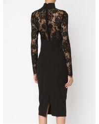 Misha Collection - Black Lace Panels Fitteddress - Lyst