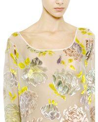 Rochas - White Hand Painted Velvet Organza Dress - Lyst