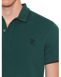 McQ - Green Logo Embroidered Cotton Piqué Polo Shirt for Men - Lyst