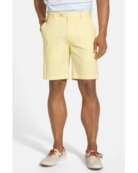 Peter Millar | Yellow Flat Front Lightweight Cotton Shorts for Men | Lyst