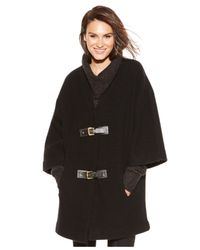 Michael Kors | Black Michael Buckle-front Sweater Coat | Lyst