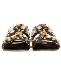 Dolce & Gabbana - Black Embellished Satin Sandals - Lyst