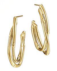 John Hardy | Metallic 18k Gold Interlocking Bamboo Hoop Earrings | Lyst