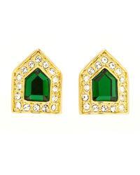 Rachel Zoe - Metallic Gold-plated Green Crystal Deco Button Earrings - Lyst