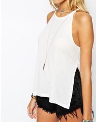 ASOS - White Petite Longline Top In Rib With Side Splits - Lyst