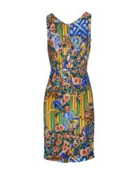 Dolce & Gabbana | Blue Printed Peplum Hem Column Dress | Lyst