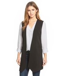 Halogen | Black Long Collarless Vest | Lyst