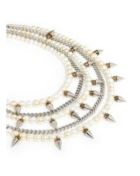Erickson Beamon | Metallic 'debutante' Faux Pearl Crystal Spike Chain Tier Necklace | Lyst