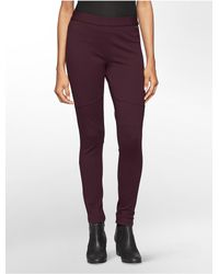 Calvin Klein - Red Pull On Ponte Leggings - Lyst