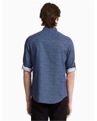 Calvin Klein | Blue Classic Fit Half Dot Roll-up Shirt for Men | Lyst