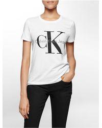 Calvin Klein   White Jeans Vintage Logo Short Sleeve Top   Lyst