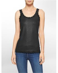 Calvin Klein - Black Faux Leather Lace Trim Scoopneck Tank Top - Lyst