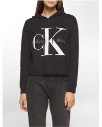 Calvin Klein - Black Jeans Cropped Logo Hoodie - Lyst