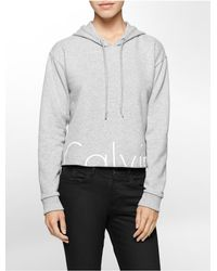 Calvin Klein - Gray Jeans Cropped Logo Hoodie for Men - Lyst