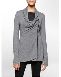 Calvin Klein | Gray Performance Asymmetrical Zip High Low Jacket | Lyst