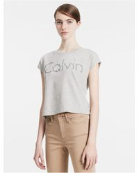 Calvin Klein   Gray Jeans Cap Sleeve Cropped Logo T-shirt   Lyst