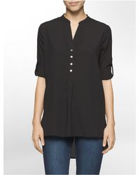 Calvin Klein - Black Chiffon Roll-up Sleeve Top - Lyst