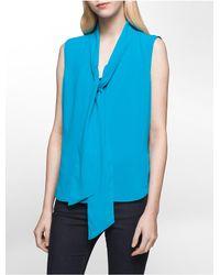 Calvin Klein   Blue Tie-neck Sleeveless Top   Lyst