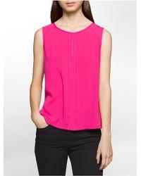 Calvin Klein   Pink Center Placket Keyhole Sleeveless Top   Lyst