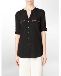 Calvin Klein   Black Mandarin Collar Exposed Zip Detail Roll-up Sleeve Top   Lyst