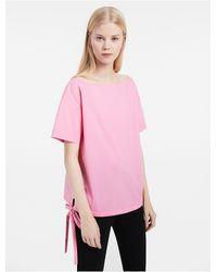 Calvin Klein | Pink Platinum Platinum Fine Stretch Short Sleeve Top | Lyst