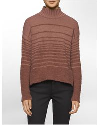 Calvin Klein | Brown Jeans Boucle Mock Neck Sweater | Lyst