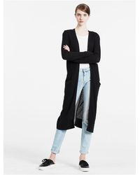 Calvin Klein | Black Jeans Long Mesh-panelled Cardigan | Lyst