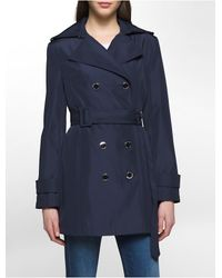 Calvin Klein | Blue Bonded Poly Trench Coat | Lyst