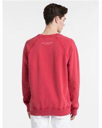 CALVIN KLEIN 205W39NYC - Red Garment-dyed Logo Sweatshirt for Men - Lyst