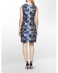 Calvin Klein - Blue Atlantis Floral Lace Dress - Lyst