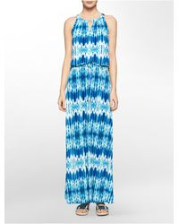 Calvin Klein | Blue Abstract Print Keyhole Halter Maxi Dress | Lyst