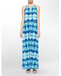 Calvin Klein - Blue Abstract Print Keyhole Halter Maxi Dress - Lyst