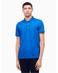 Calvin Klein - Blue Classic Fit Solid Liquid Cotton Polo Shirt for Men - Lyst