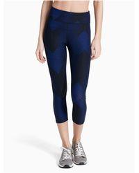 CALVIN KLEIN 205W39NYC - Blue Performance High Waist Printed Mesh Cropped Leggings - Lyst