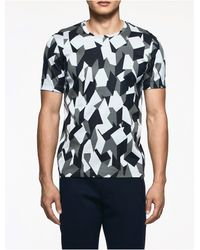 Calvin Klein | Blue Platinum Platinum Jacquard Geometric Short Sleeve Shirt for Men | Lyst